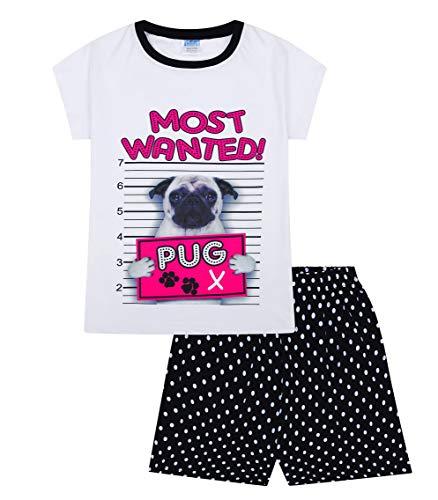 Schlafanzug für Mädchen, kurz, Motiv: Mops, gepunktet, 9 bis 16 Jahre Gr. 13-14 Jahre, weiß