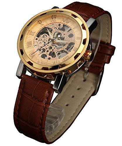 SEWOR Hollow Herren Analog Skeleton Carving Mechanische Handaufzug Armbanduhr mit Lederarmband SEW876 (Gold)