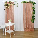 2 Packs 2ftx8ft Rose Gold Glitter Backdrop Party Photo Sequin Curtains Wedding Brithday Holiday Sparkle Photography Background