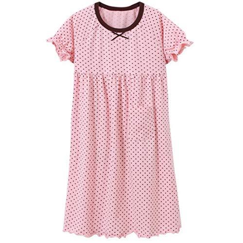 Biofieay Mädchen Nachthemden Prinzessin Baumwolle Gepunktet Kurzarm Schlafanzüge Kinderschlafanzug für 3-12 Jahre