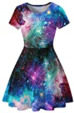 Sister Amy Women's Galaxy Printed Elastic Round Neck Sleeveless Shaping Camisole Skater Galaxy M