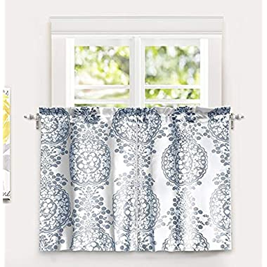 DriftAway Samantha Floral/Damask Medallion Pattern Kitchen Tier Window Treatment,Set of Two, Each 30 x36 + 1  Header (Blue)
