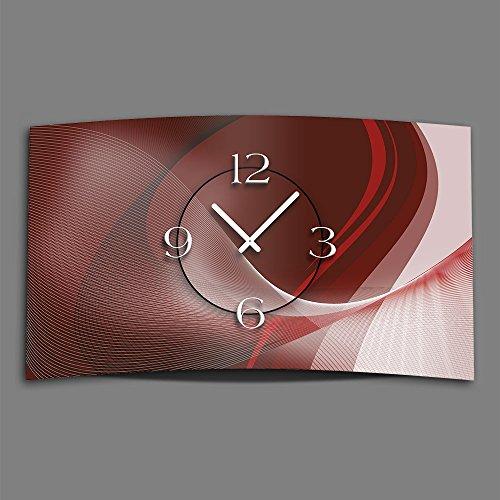 DIXTIME 3DS-0381 Horloge murale design moderne et silencieuse Rouge