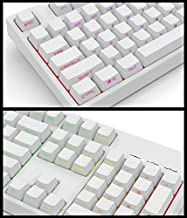 Black White PBT Double Shot 104 Side-lit Shine Through Translucent Backlit keycaps OEM Profile for MX Mechanical Keyboard Filco (White)