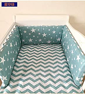 Nordic Stars Design Baby Bed Thicken Bumpers One-Piece Crib Around Cushion Cot Protector Pillows 3 Colors Newborns Room Decor (18030 cm) (Star Green)