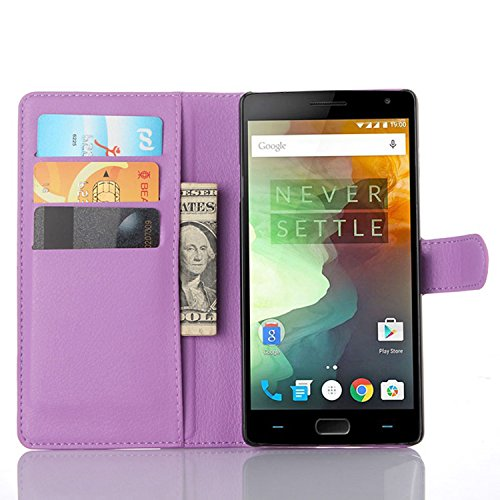 Ycloud Tasche für OnePlus Two Hülle, PU Ledertasche Flip Cover Wallet Hülle Handyhülle mit Stand Function Credit Card Slots Bookstyle Purse Design lila