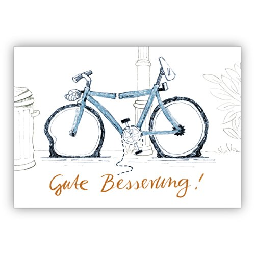 4x Liebevolle Genesungskarte mit Humor und kaputtem Fahrrad: Gute Besserung - auch für Firmen Kunden und Geschäftspartner • schöne Premium Grusskarten Set mit Umschlägen für beste Freunde