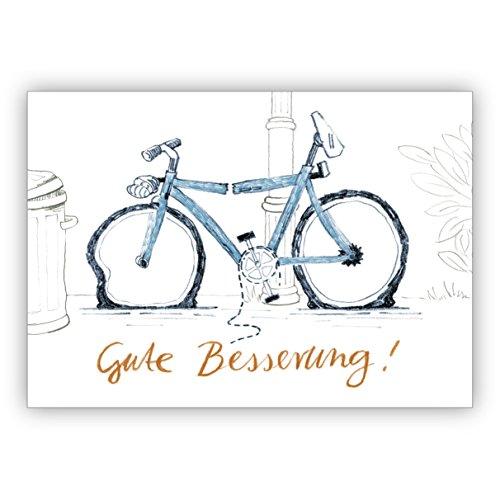 1 Liebevolle Genesungskarte mit Humor und kaputtem Fahrrad: Gute Besserung • auch zum direkt Versenden mit ihrem persönlichen Text als Einleger. • schöne Klappkarte mit Umschlag als Grußkarte