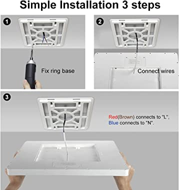 LED Flush Mount Ceiling Light Fixture, 5000K Daylight White, 12inch 24W, 3200LM, Slim Flat Panel Lighting Fixture, Square Mod