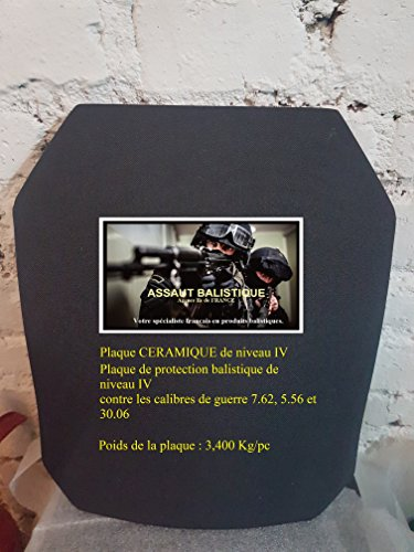 Schutzplatte, ballistisch, aus Keramik, Level-IV, gegen Kaliber 7.62, 5.56und 30.06