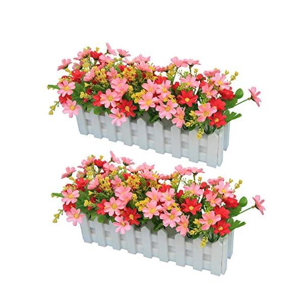 Flikool 2pcs Margarita Artificiales con Cerca de Madera Falsas Gerbera Flores Artificiales de Seda Crisantemo Bonsai con…
