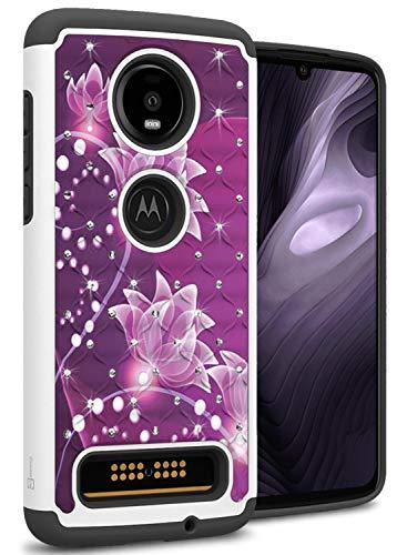 CoverON 2019 Hybrid Bling Aurora Serie für Motorola Moto Z4 Hülle, Violette Blume