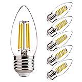 Dimmable LED Candelabra Light Bulbs 60W Equivalent E26 Regular Base - FLSNT 4.5W B11 LED Chandelier Candle Light Bulbs,2700K Soft White, 450LM,CRI80- 6 Pack
