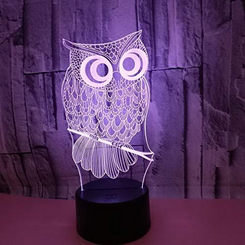 LG Snow Tischlampe Eule 3D Nachtlicht Fernbedienung Bunte Touch LED Dekorative Schlafzimmer Kleine Tischlampe
