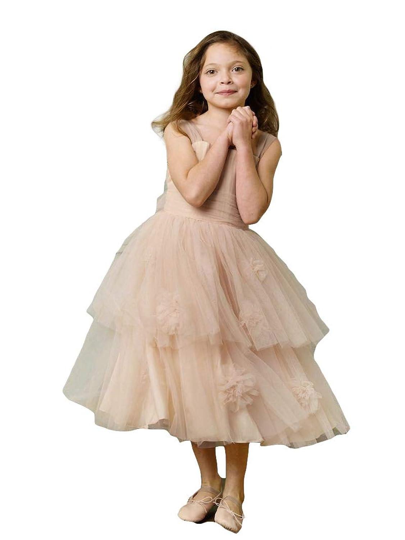 [即日納品 フラワーガールドレス 100~110サイズ] アンティーク風 ベージュ リングガール 衣装 結婚式 キッズ 子供 女の子 フォーマル パーティー ピアノ 発表会 ジュニア ブライズメイド