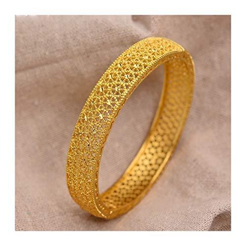 LZZR Pulsera de Oro Amarillo de 24k de Las Mujeres Joyas de Boda (Color : Gold, Size : 56 58mm)