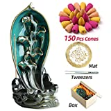 INONE Lotus Fish Backflow Incense Burner Waterfall Ceramic Incense Holder for Aromatherapy Ornament Home Decor