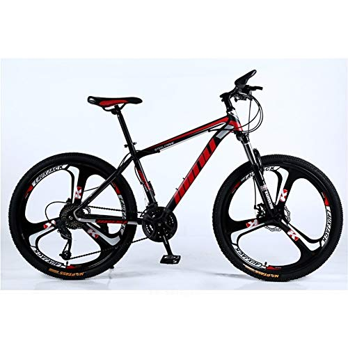 GAHO 26 inch 21/24/27/30 Speed Adult Mountain Bike 3-Knife All-in-one Off-Road Variable Speed Bicycle Shock-Absorbing Bicycle (Color : Black and red, Size : 24 Speed)