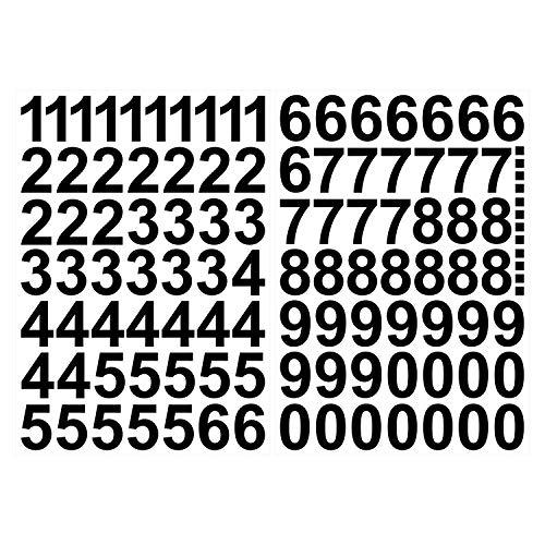 Leicht anzubringende Zahlen Aufkleber 4cm in schwarz glänzend - 101 HOCHWERTIGE KLEBEZAHLEN - selbstklebende Ziffern und Nummern 0-9 - Wasser und wetterfest ideal für den Außenbereich