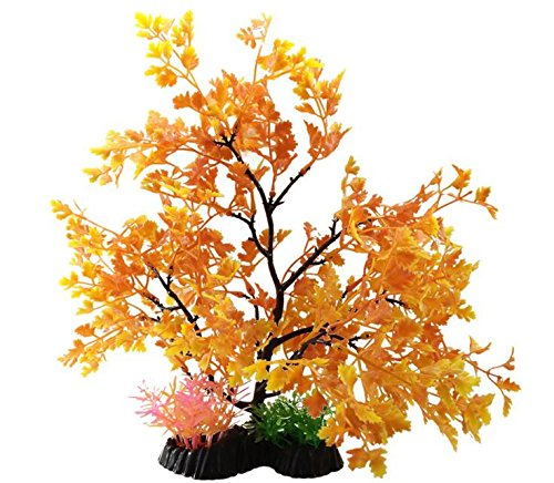Anleo Artificial Aquarium Ornament Plant Aquatic Decor Tree/Underwater Plastic Trees for Home Office Saltwater Freshwater Tropical Fish Tank Decorations (Yellow)
