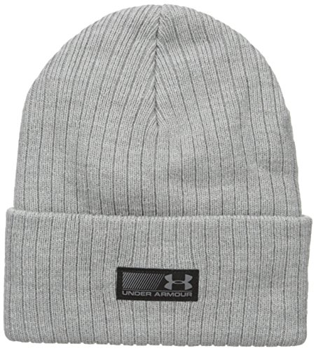 Under Armour Men's Truck Stop Beanie, True Gray Heather (025)/Black, One Size Fits All
