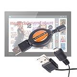 DURAGADGET câble de synchronisation rétractable USB - Micro USB Petit et Compact pour tablettes tactiles Carrefour Touch Tablet CT 1010W 10' & CT1010 10,1 (Android)- Garantie 5 Ans