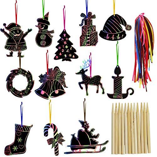 K KUMEED 48 Stück Kratzbilder Weihnachten, Basteln Weihnachten Kinder Kratzbilder Weihnachtsdeko, Kratzpapier Weihnachtsdeko Kinder Basteln, Weihnachts Kratzbilder für Weihnachten Basteln Kinder