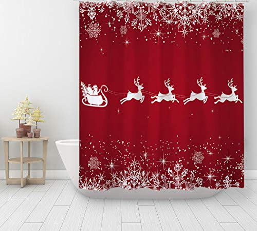 Aonewoe 3D Shower Curtain Merry Christmas Polyester...