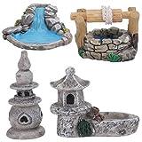 HEMOTON 4Pcs Miniaturen Fee Garten Teich Dekoration Micro Landschaften Pool Retro Teich Turm Fee Garten Zubehör für DIY Fee Garten Bonsai Puppenhaus
