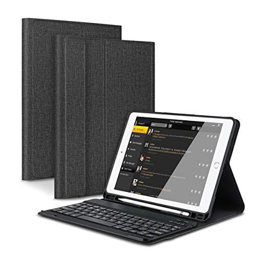 Feelkaeu iPad 9.7 Funda de Teclado Bluetooth con Portalápices, para iPad 2018 (6th Gen) iPad 2017 (5th Gen) iPad Pro 9.7 iPad Air 2 1 Teclado Inalambrico QWERTY Español Negro