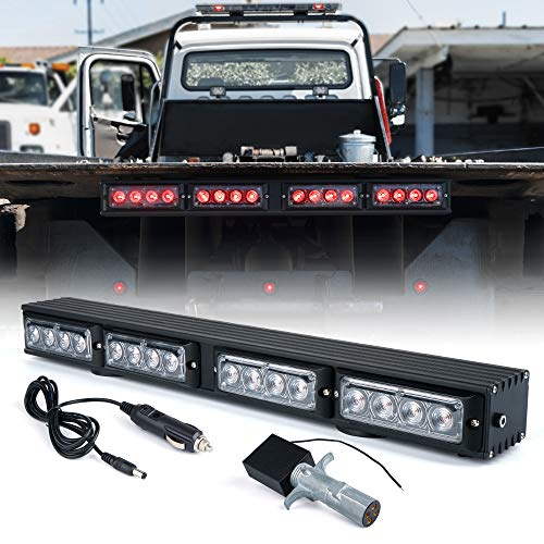 """Xprite [Upgrade] 21.5"""" LED Trailer Towing Wireless Light Bar w/ 4 Pin Round Transmitter, Brake and Turn Signal Red Emergency Lightbar for Tow Truck Vehicle, Powerful Magnetic Base"""
