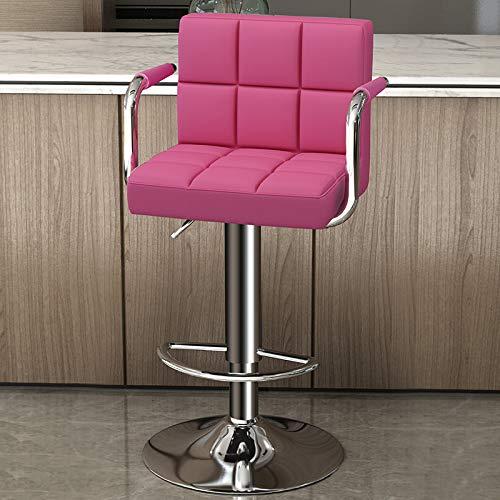 Barstolar,Barnstol med väl stoppad ryggstöd,Frukost barstol Counter Kitchen Swivel Chair,Justerbar höjd och 360 ° rotationsstolar,Rose,44×38×80cm