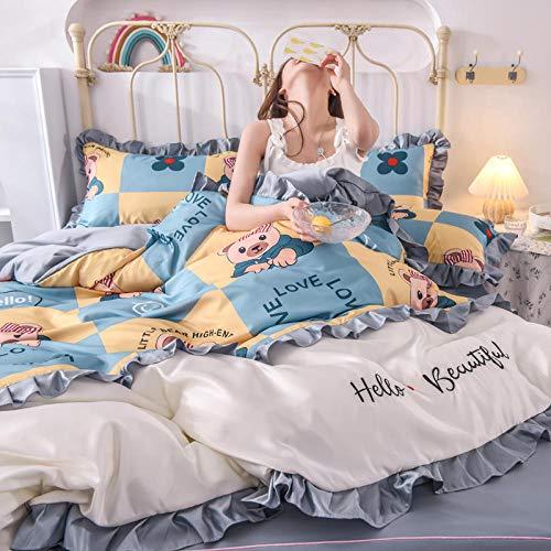 juego de funda nórdica cama 90,Seda de hielo lavada de cuatro piezas, desnudo sedoso, estilo princesa durmiente, falda de cama de seda agradable para la piel de verano-B_Cama de 2,0 m (4 piezas)