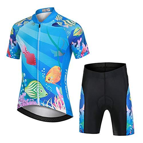 LSHEL Niños Niñas Secado Rápido Maillot de Ciclismo Conjunto de Jersey Manga Corta + Pantalones Cortos Transpirable Ciclismos Traje