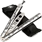 H&S Dragon Blunt Dull Balisong Butterfly Trainer Knife Pocket Practice Training Knifes Blade Tool - NOT Real - NO Sharp
