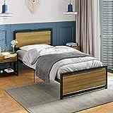 ADORNEVE Metallbett Bettrahmen 90x200cm Einzelbett mit Kopfteil und Lattenrost, geeignet für Räume für Kinder und Jugendliche, Schwarz Stahlrahmen
