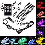 Sanhezhong Car LED Strip Light, 4pcs 48 LED DC 12V Multicolor Music Car Interior Light LED Under Dash Lighting...