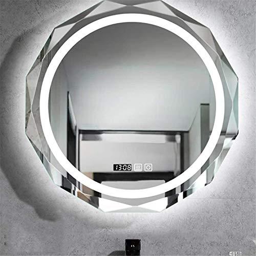 YYHAD Lámpara LED de pared redonda sin marco con luz LED inteligente con luz de desempañamiento del tiempo (color de luz blanca, tamaño: 700 mm)