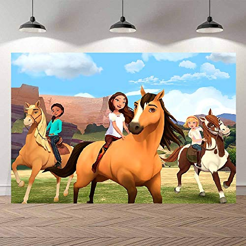 Spirit Riding Free Backdrop for Kids Birthday Party Supplies Spirit Horse Ranch Backdrops for Photography Newborn Portrait Photo Backdrop Baby Shower Blue Sky and White Cloud Photo Studio Props