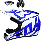 Merkts Casco de motocross, casco de seguridad con gafas guantes cubierta facial para motocross Street Bike Off-Road City Rode Bike azul y blanco M