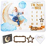 Baby Monthly Milestone Blanket Boy & Girl by Sandan - Super Soft, Extra Large Newborn Month Blanket with a Photo Album, Bandana Bib and Frames for Perfect Personalized Baby Milestone Pictures