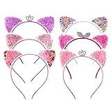 Angelikashalala 6 piezas de orejas de gato diademas con lentejuelas con purpurina para la cabeza de fiesta diaria para el pelo de niñas y mujeres accesorios para el cabello