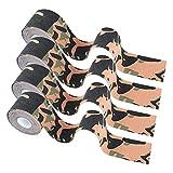 4 Rollos Cinta Kinesiología Tape 5 m x 5 cm Venda neuromuscular Adhesiva Alivio Dolor Muscular, Elásticas, Impermeable, Vendaje kinesiológico para Protección Deportiva Camouflage