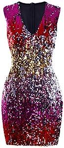 lexiart Spaghetti Strap Dress for Women - Sexy Stretchy Sequin Bodycon Pencil Club Summer Dress
