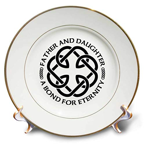 3dRose Celtic Fatherhood Knot Father and Daughter A Bond for Eternity Porcelain Plate, 8'