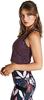 Rockwear Activewear Women's Winter Bloom Self Stripe Singlet BlackBerry 6 from Size 4-18 for Singlets Tops