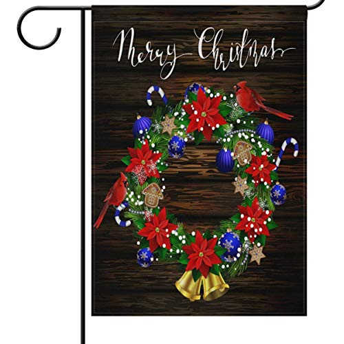 N\ A Garden Flag 12 x 18 Double Sided Merry Christmas Wooden Cardinal Poinsettias Decorative House Yard Flags for Outside Outdoor Welcome Home Decor Banner Stand Size 12x18 inches