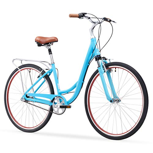 sixthreezero Body Ease Women's 3-Speed Comfort Bike W/ Rear Rack, 26' Wheels/ 17' Frame, Teal, 17inch/One Size
