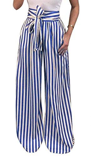 Pantalon Anchos Mujer Primavera Otoño Pantalones De Tiempo Libre Elegante Moda Pantalon Flecos Cintura Alta Retro Señora con Cinturón con Lazo Dos Bolsillos De Pantalón Golpear Pantalones Harem