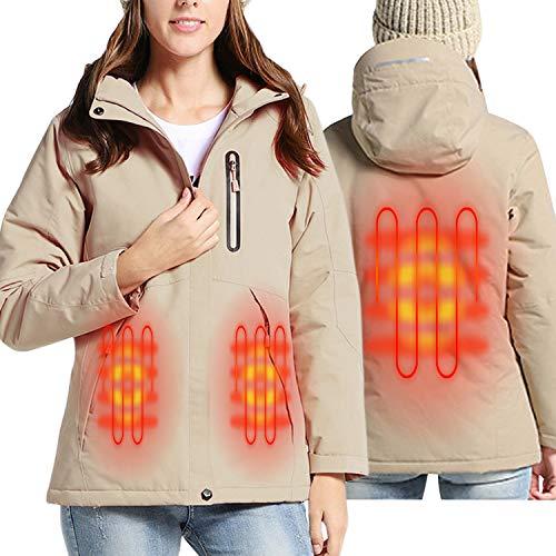 Sidiou Group Beheizte Jacke USB Elektrische Heizjacke Herren und Damen Beheizte Jacken Heizung Kleidung Trekking Softshell Jacke wasserdichte Fleece Hoodie Wandern Klettern Skijacken (Damen Khaki, L)